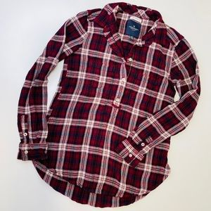 AE Red Plaid Boyfriend Flannel Button Down Shirt